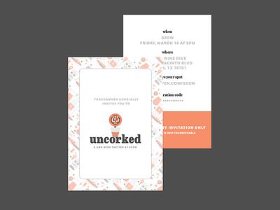 Uncorked: Invitation Postcard sxsw trackmaven postcard illustrations