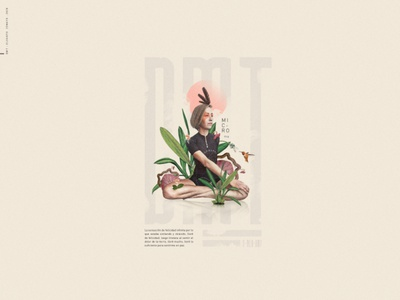 Micro-Diseño 07 [ DMT ] yoga leaves dmt design digitalart collage nature typography digital green illustration color