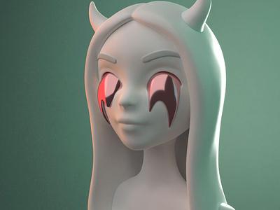 Character illustration girl female horns illustration blender 3d