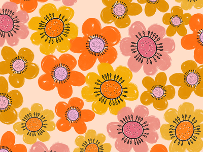 Retro floral pattern procreate 70s brushstroke retro color floral pattern flowers