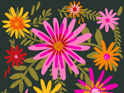Dark mode Bellis Flower harvest gold avocado green fuschia magenta orange hand drawn floral simplified flowers painted flowers graphic design flower floral print flowers room decor groovy art funky graphic
