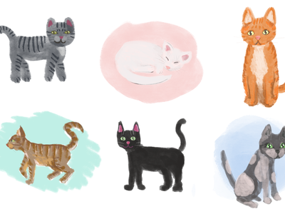 Painted Cats design cat personality cat illustration cat drawing cat set kitten set kittens cat illustration cute
