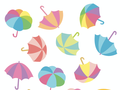 Colorful Parasols rainbow colorful summertime swimming beach summer parasol umbrella kids pretty playful cute vector illustration