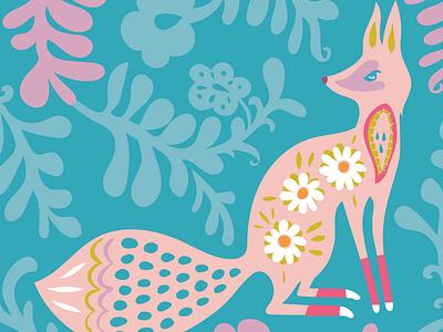 Foxy flowers design bright kids colorful sexy animal fox folkart folk scandinavian playful vector cute illustration
