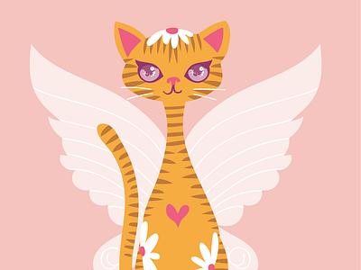 fairy cat vectors playful fairy wings kitty cat kitten cat cat kitten kitty design pretty vector illustration