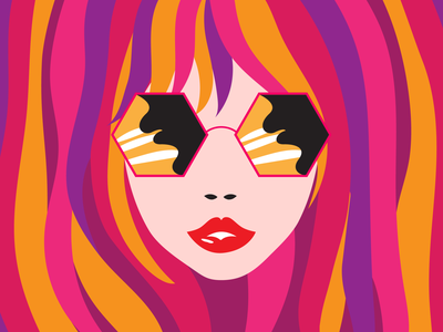 Crazy Cool girls cool sunglasses neon fashion pretty vector graphic design illustration funky groovy colorful girl hair