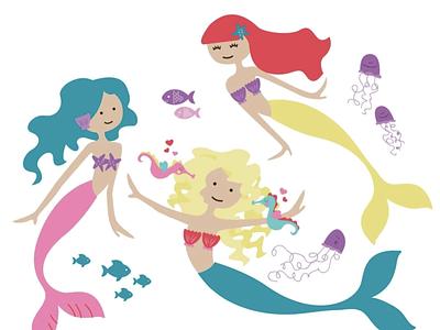 Playful Mermaids pretty mermaid kids products kids product design kids drawing cute mermaids digital illustration illustration kids