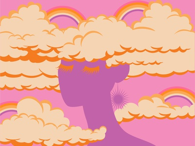 Head in the Clouds 01 vector art portrait woman illustration feminine colorful head in the clouds rainbow clouds woman illustration