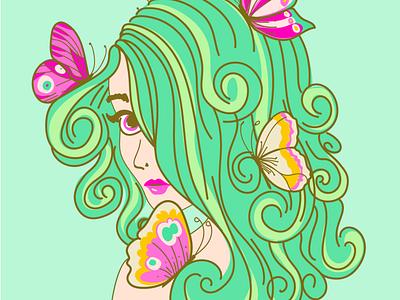 Butterfly 01 pretty goddess butterflies green coloful artistic art woman vector butterfly