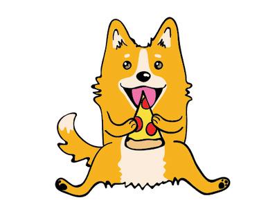 Corgi Eating Pizza design vector sticker design funny pizza dog corgi line stickers digital sticker sticker cute illustration