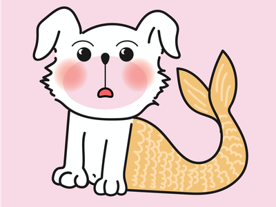 Embarassed Orange Merdoggo kawaii playful vector illustration character design cute animal character drawing character cute dog mermaid