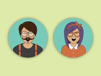 Happy Hipsters Icons