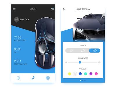 Concept Driving black blue light drive concept car app