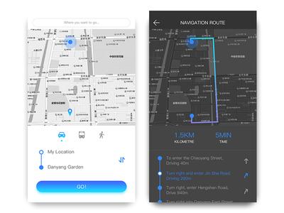 Map Navigation car nav night black map ui app
