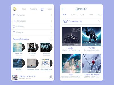 My Music pure song list music ui app