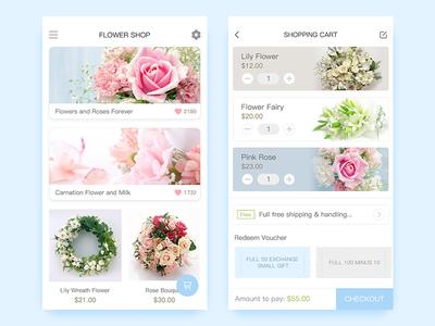 Flower Shop pink blue rose shop flower ui app