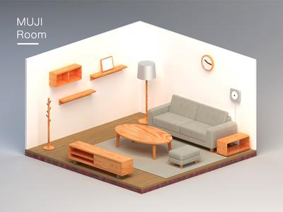 MUJI Room muji c4d room