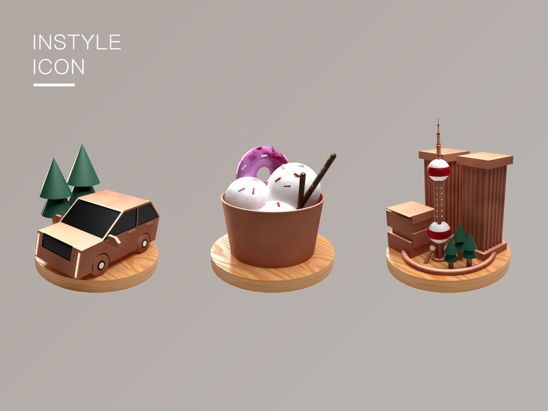 INSTYLE_ICON gold wood ins 3d icon