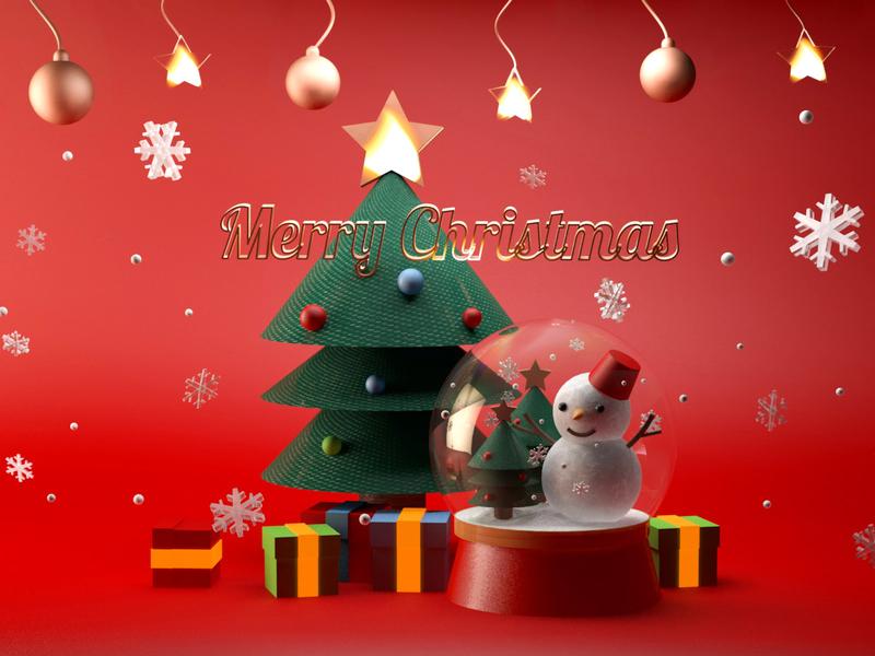 Merry Christmas gift snow tree merry c4d