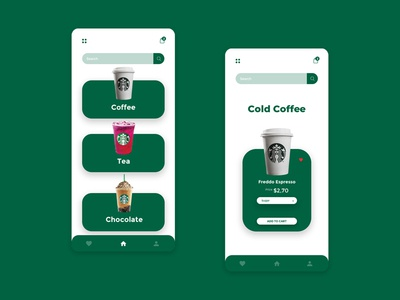 Starbucks online delivery app coffeeshop coffee app eshop design ui ux inteface ui website web design