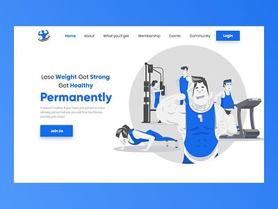 Fitness Design Concept Landing Page adobexd flatdesign ui uiux landingpage design website design