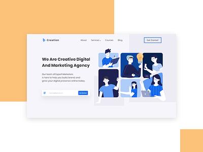 Marketing Agency Header Concept marketing agency marketing agency userinterface webdesign flatdesign uiux uidesign design website design landingpage