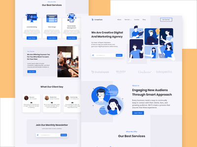 Marketing Agency Landing Page Design Concept marketing agency marketing userinterface adobexd uiux flatdesign uidesign design website design landingpage