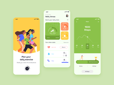 Health Tracking App - User Interface Mobile Design heartrate exercise gym userinterfacedesign illustration flatdesign colorgreen green fitness healthtracking healthtrackingapp uidesign design uiux