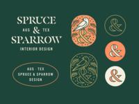 Spruce & Sparrow Explore interior design standard issue ampersand bird illustration logo sparrow spruce