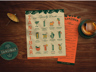 Zanzibar neon bamboo zombie mai tai drink cocktails illustrations branding tropical tiki bar