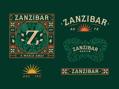 Zanzibar neon bamboo zombie mai tai drink cocktails illustrations branding tropical tiki bar