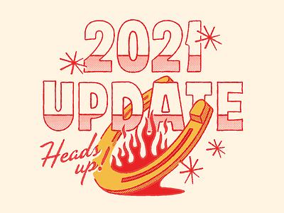 Hot Luck 2021 Update illustration vintage retro food luck hot update flames horseshoe