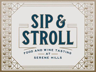 Sip & Stroll geometric texture gold invitation invite event art deco