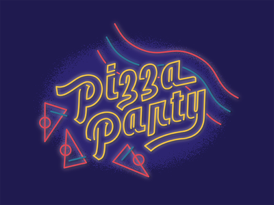 Pizza Party rollerskate 80s neon typography hot luck hotluck party pizza