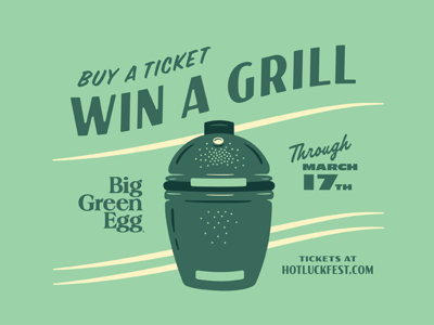 Win A Grill texas austin retro vintage illustration music food contest festival hot luck grill big green egg
