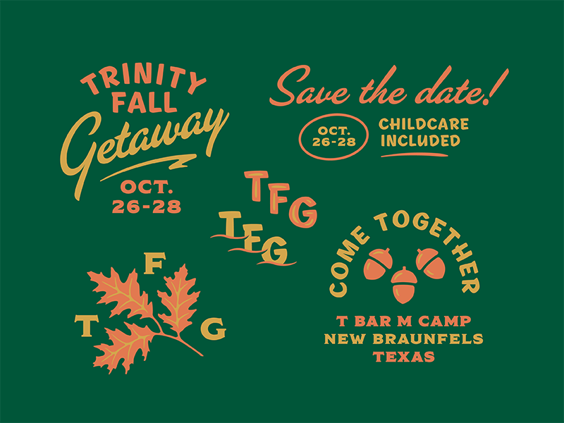 Fall Getaway Expanded illustration typography oak foliage leaf retreat trinity fall getaway