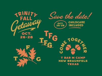 Fall Getaway Expanded illustration typography oak foliage leaf retreat trinity fall getaway