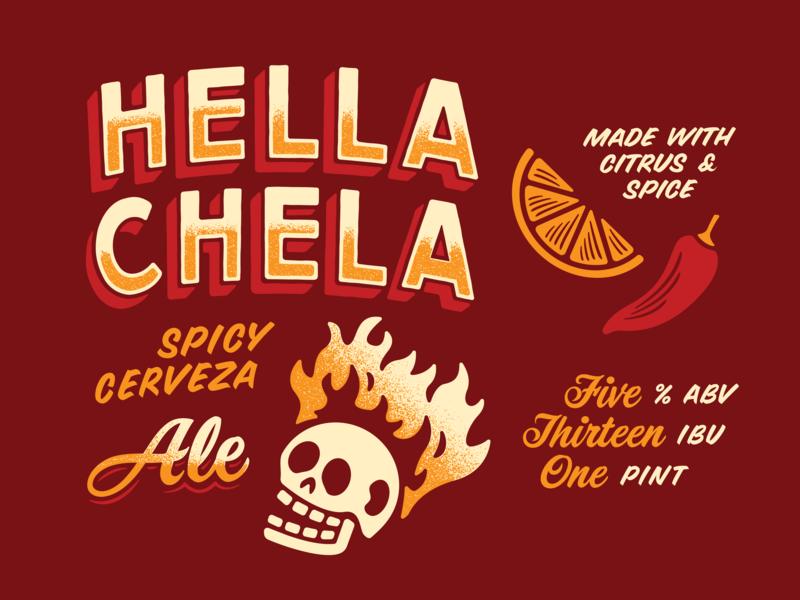 Hella Chela System gradient texture brand illustration karbach pepper spice citrus ale hot fire skull cerveza mexican spicy beer chela hella