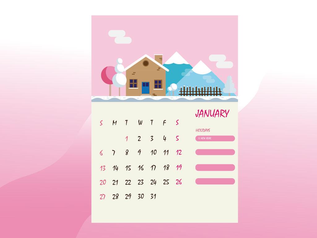 January 2019 Calendar 2019 time january winter house farm calendar design calendar vector design cartoon illustration