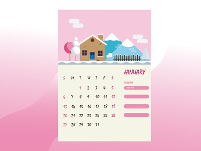 January 2019 Calendar 2019 time january winter house farm calendar design calendar vector design cartoon illustration