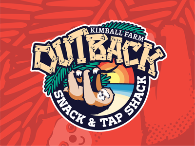 KF - Outback cartooning illustration lettering wood sun beach animal sloth jungle outback promotional graphic badge logo