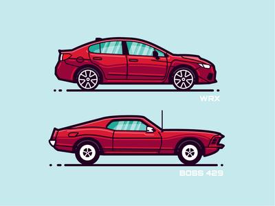 Monoline Vehicles 1.1 machine illustration ford subaru vehicle flat modern icon monoline automobile car