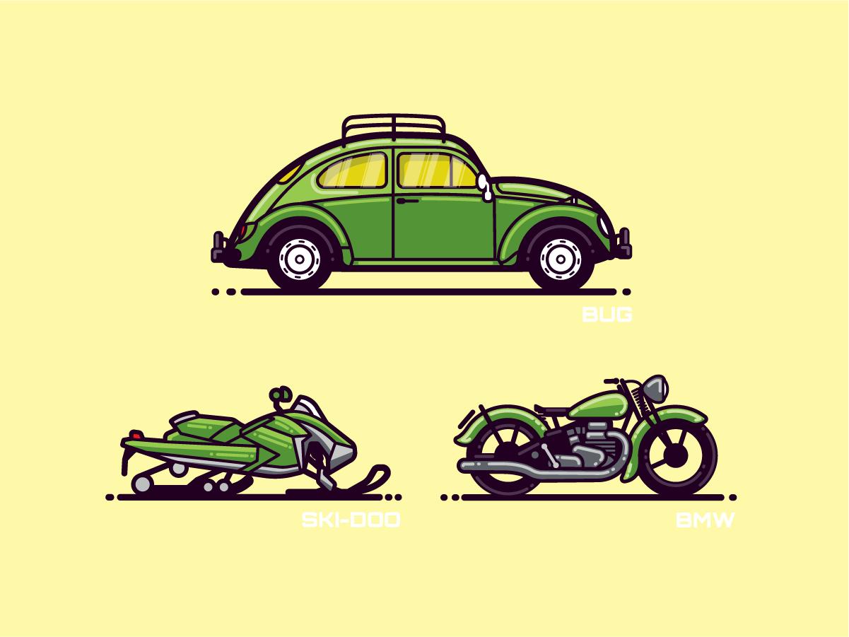 Monoline Vehicles 1.3 snow modern flat illustration automobile bug vw car bike motorcycle snomobile