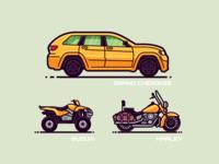 Monoline Vehicles 1.4 four wheeler 4x4 motorcycle bike suv graphic illustration geometric modern flat icon automobile