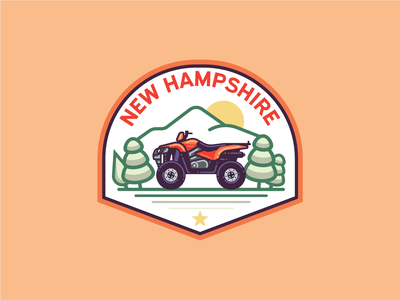 Monoline N.H. Badges mountains snomobile atv motorcycle print illustration patch badge