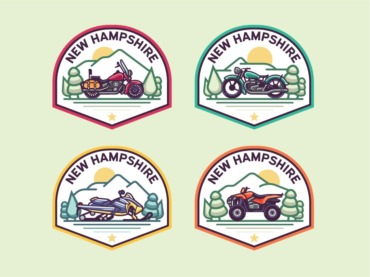 Monoline N.H. Badges mountains snomobile atv motorcycle print illustration patch badge