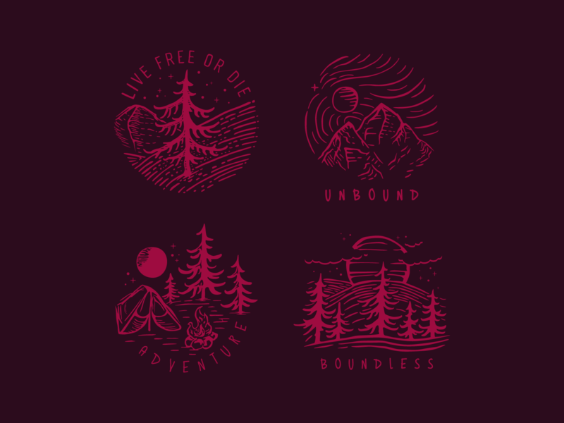 Boundless - Technique Experiment logotype camping forest mountain new hampshire new england trees nature print logo
