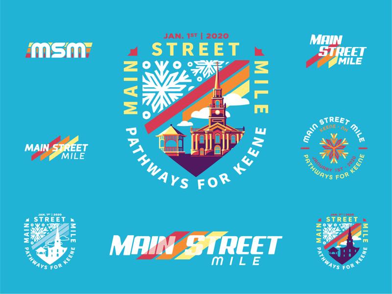Main Street Mile - Branding Exploration logo design road race community athletics event badge vector illustration print logo