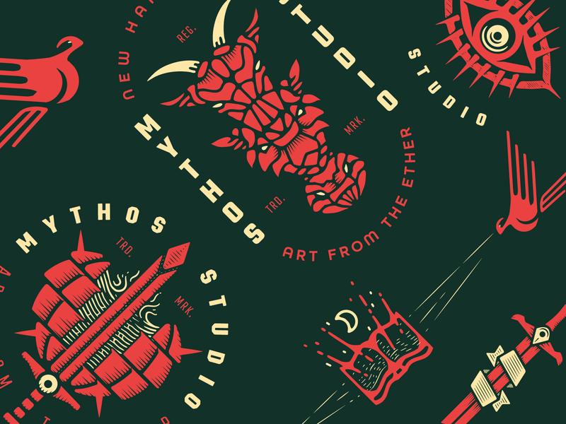 Mythos Studio - Art from the Ether eyes swords earth illustration print logo branding