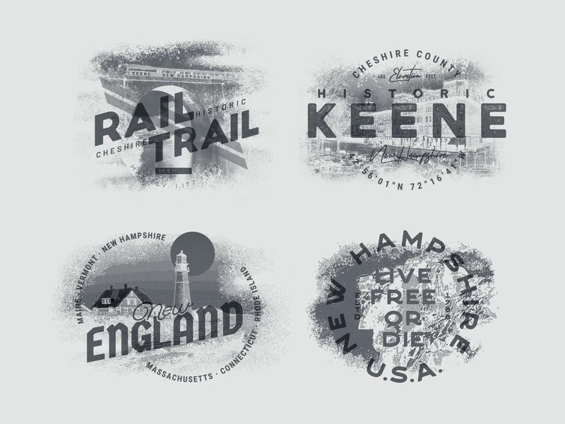 Historic New Hampshire &  New England halftones screen printing new england new hampshire apparel graphics print